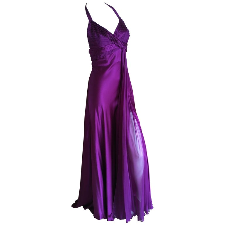 Versace Vintage luxurious Purple Silk Evening Dress with Draped Silk Chiffon