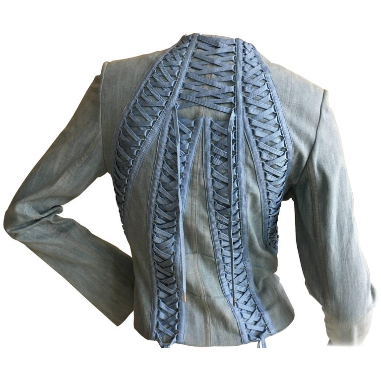 Christian Dior by John Galliano Denim Blue Jean Corset Lace Jacket