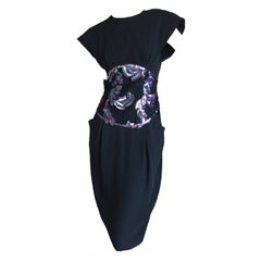 "Geoffrey Beene Black Crepe Dress w Sequin ""Obi"""
