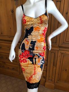 Dolce & Gabbana D&G Vintage Floral Pattern Lace Trim Cocktail Dress