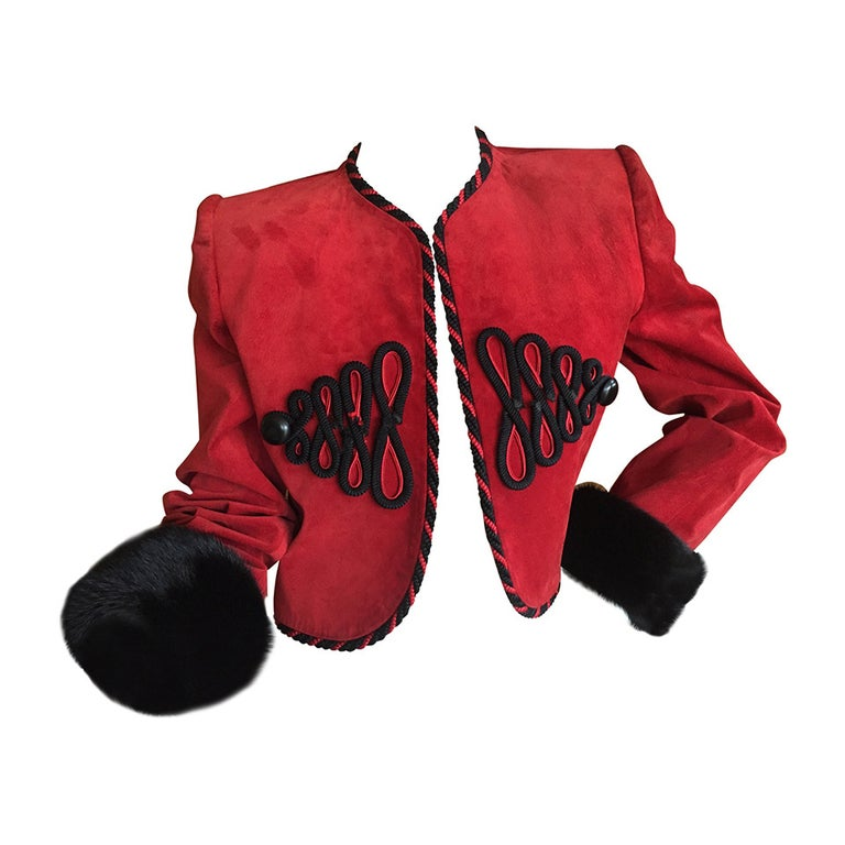 Givenchy Couture Red Suede Mink Trim Crop Jacket