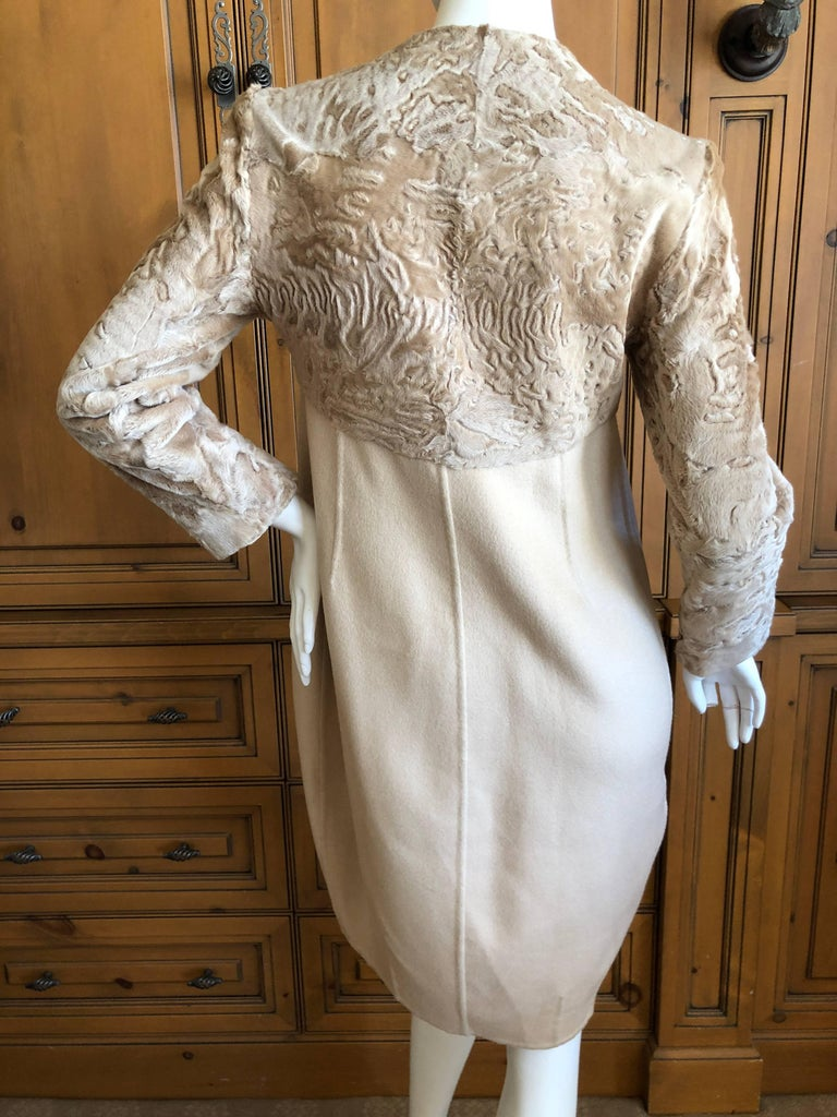 Fendi Elegant Pure Cashmere Coat with Broadtail Lamb Fur Trim by Lagerfeld In Excellent Condition For Sale In San Francisco, CA