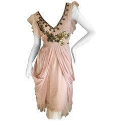 John Galliano Vintage Embellished Draped Cocktail Dress New With Tags