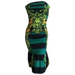 Prada Spring 2011 Baroque Stripe Cherub Strapless Dress