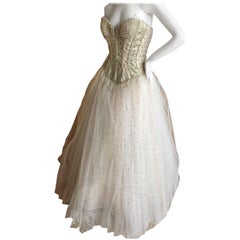 Bob Mackie Beaded Bustier Ballerina / Wedding Dress