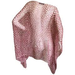 Yves Saint Laurent Rive Gauche Sheer Silk Lips Print Poncho