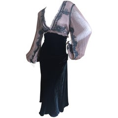 Jean Paul Gaultier Sheer Soutache Trim Velvet Dress w Convertible Sleeves