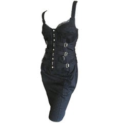 Dolce & Gabbana Vintage D&G Lace Trim Bondage Strap Little Black Dress