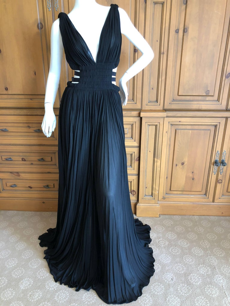 Azzedine Alaia Vintage Black Pleated Goddess Gown with Side Straps, Autumn 1991  In New Condition For Sale In San Francisco, CA