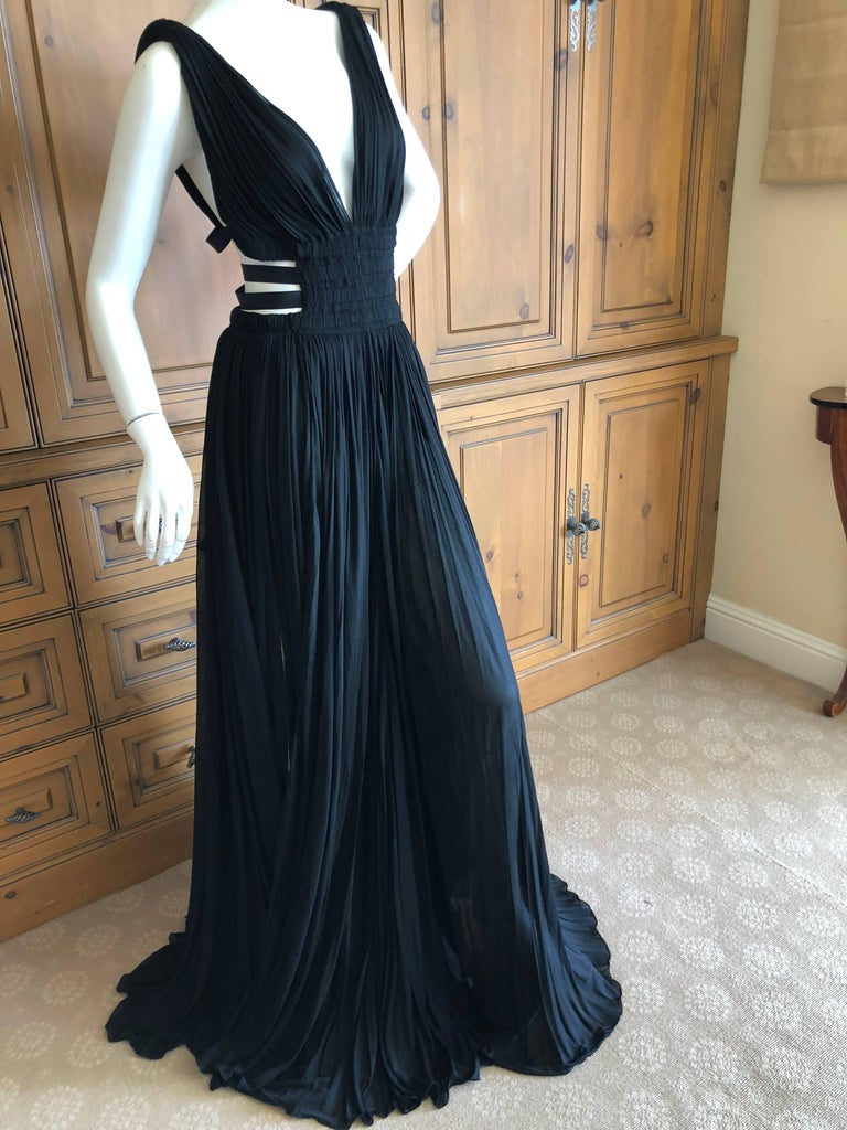 Women's Azzedine Alaia Vintage Black Pleated Goddess Gown with Side Straps, Autumn 1991  For Sale