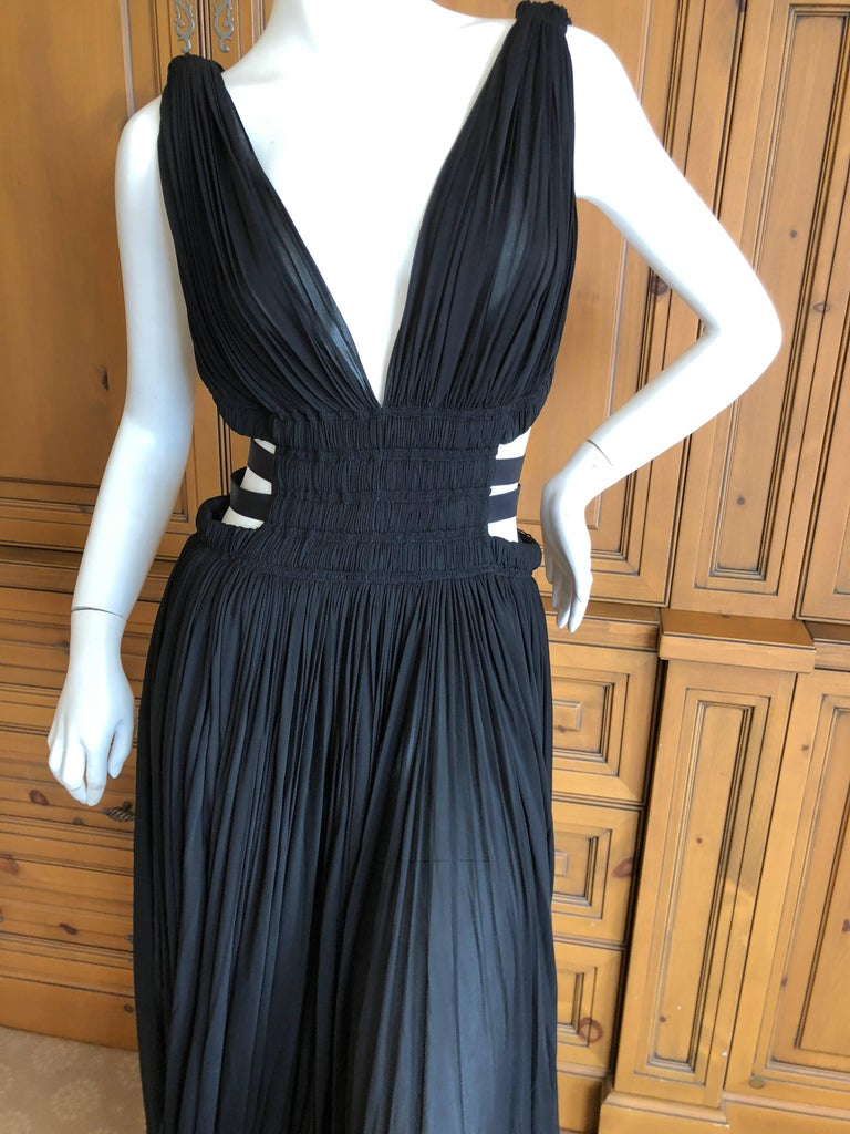 Azzedine Alaia Vintage Black Pleated Goddess Gown with Side Straps, Autumn 1991  For Sale 1