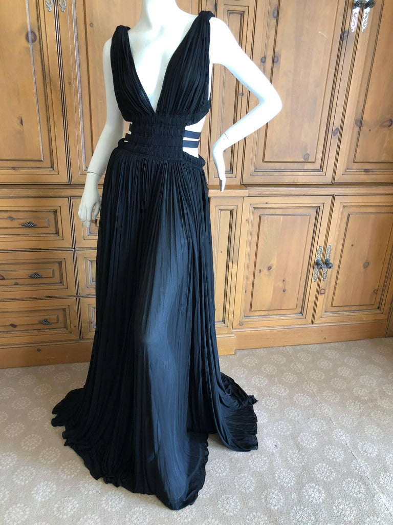 Azzedine Alaia Vintage Black Pleated Goddess Gown with Side Straps, Autumn 1991  For Sale 2