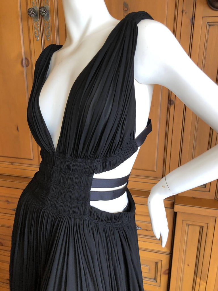 Azzedine Alaia Vintage Black Pleated Goddess Gown with Side Straps, Autumn 1991  For Sale 3