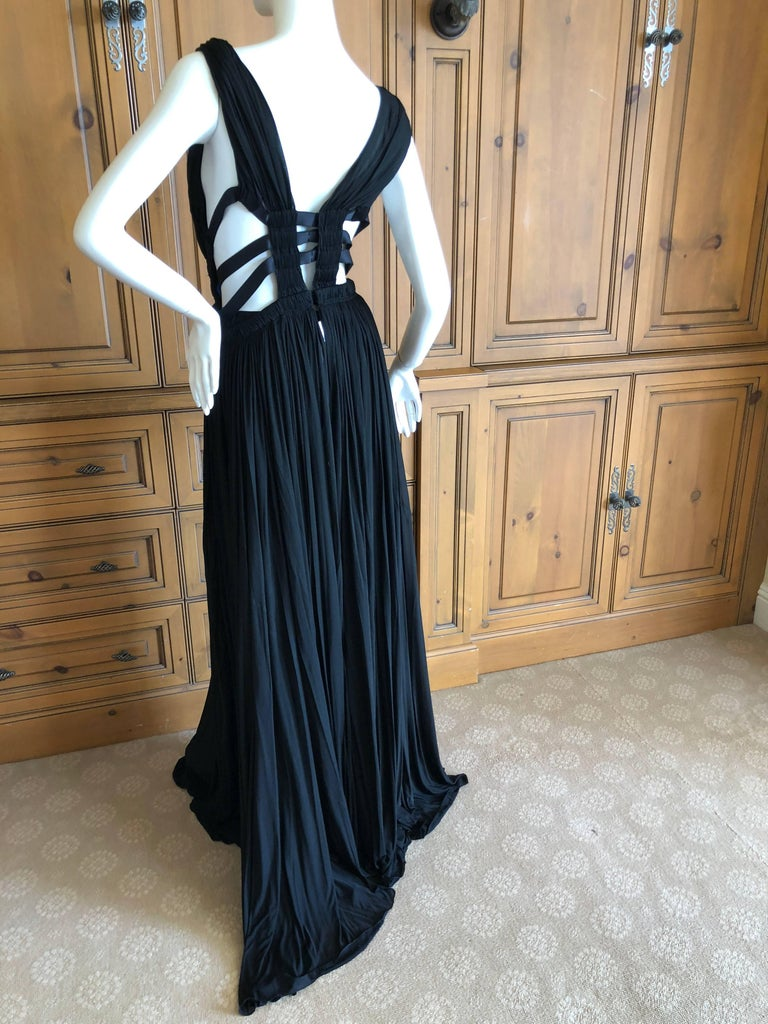 Azzedine Alaia Vintage Black Pleated Goddess Gown with Side Straps, Autumn 1991  For Sale 4