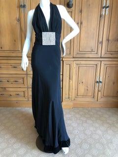 Cardinali Black Low Cut Halter Evening Dress with Huge Rhinestone Crystal Belt