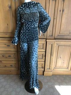 Cardinali 1974 Sheer Silk Devore Velvet Poet Sleeve Jumpsuit