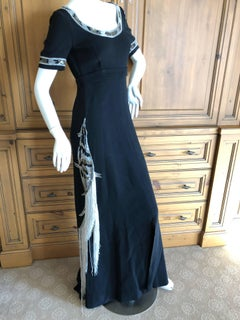 Cardinali Black Evening Dress with Bead Trim Fringed Bird Of Paradise