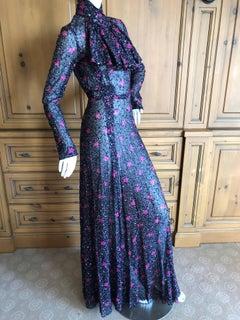 Cardinali Sheer Metallic Devore Velvet Floral Pattern Evening Dress