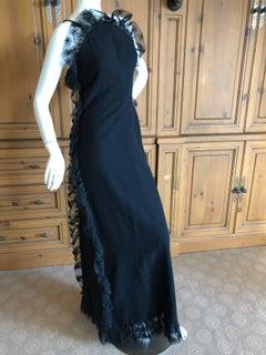 Cardinali Spring 1974 Black Ruffle Lace Trim Evening Gown