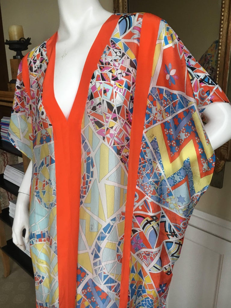 f7e12520fa Women's or Men's Emilio Pucci Sheer Kaleidoscope Silk Caftan Beach Coverup  New with Tags Unisex For