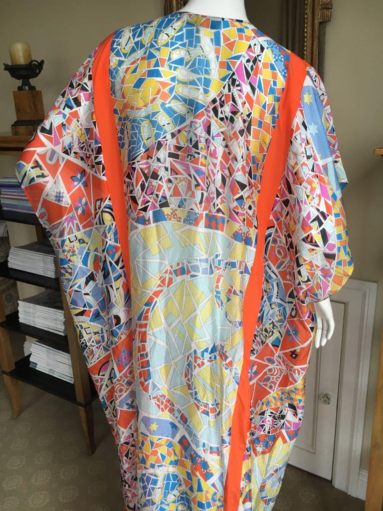 2fe210237a Emilio Pucci Sheer Kaleidoscope Silk Caftan Beach Coverup New with Tags  Unisex For Sale 4