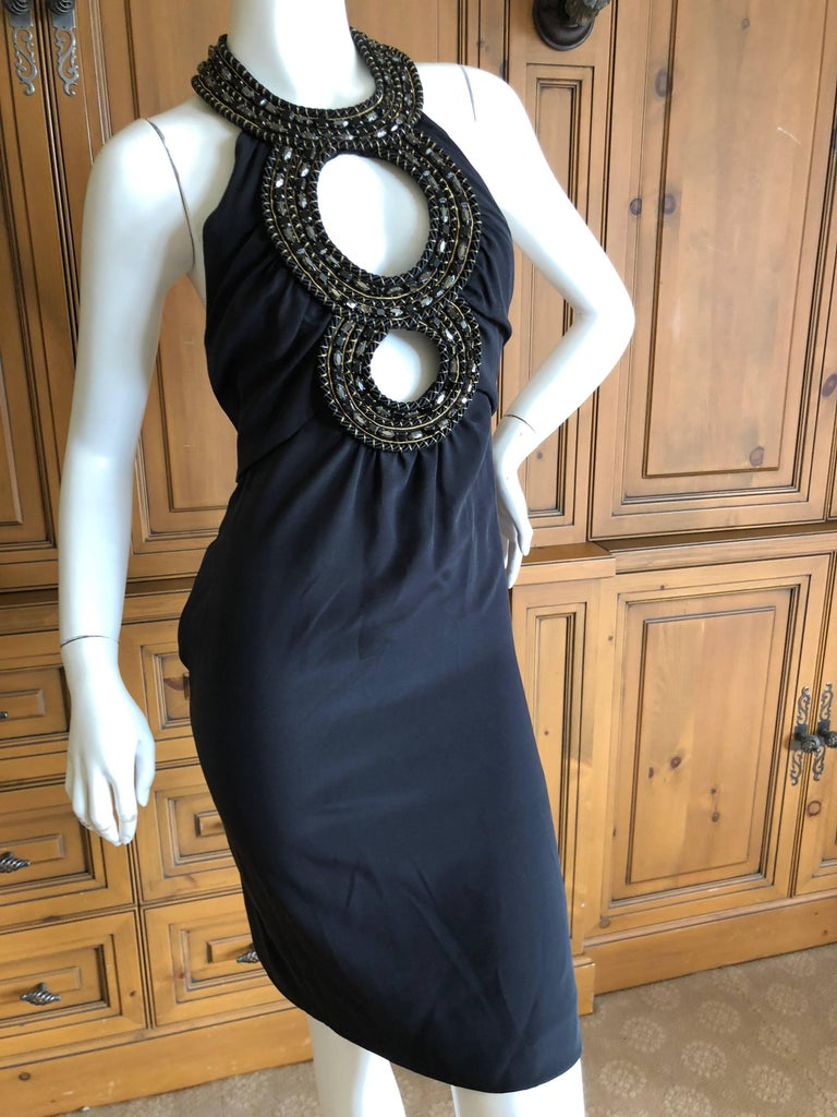 Azzaro Iconic Keyhole Backless Dress with Crystal and Cording Details This is such a pretty piece.  No size tag appx size 38 Eu Bust 36