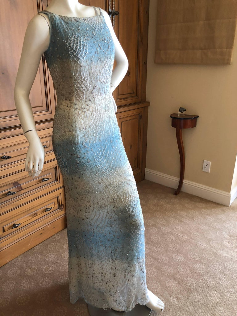 Oscar de la Renta Heavily Embellished Blue Ombre Vintage  Evening Dress  Simply Stunning. Please use the zoom feature to see al the remarkable details. Size 6 Bust 36