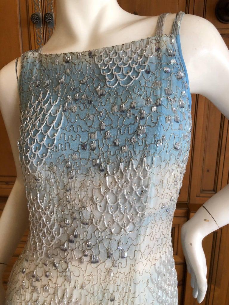 Black Oscar de la Renta Heavily Embellished Blue Ombre Vintage  Evening Dress  For Sale