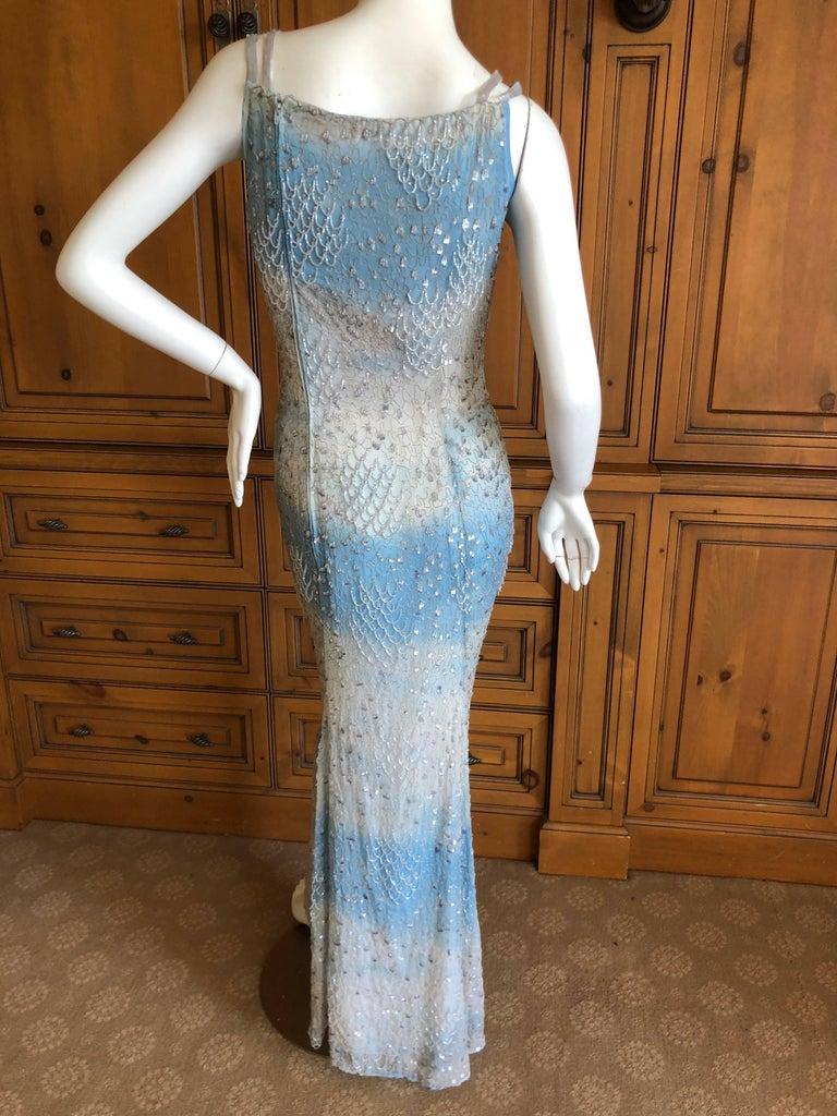Oscar de la Renta Heavily Embellished Blue Ombre Vintage  Evening Dress  For Sale 1