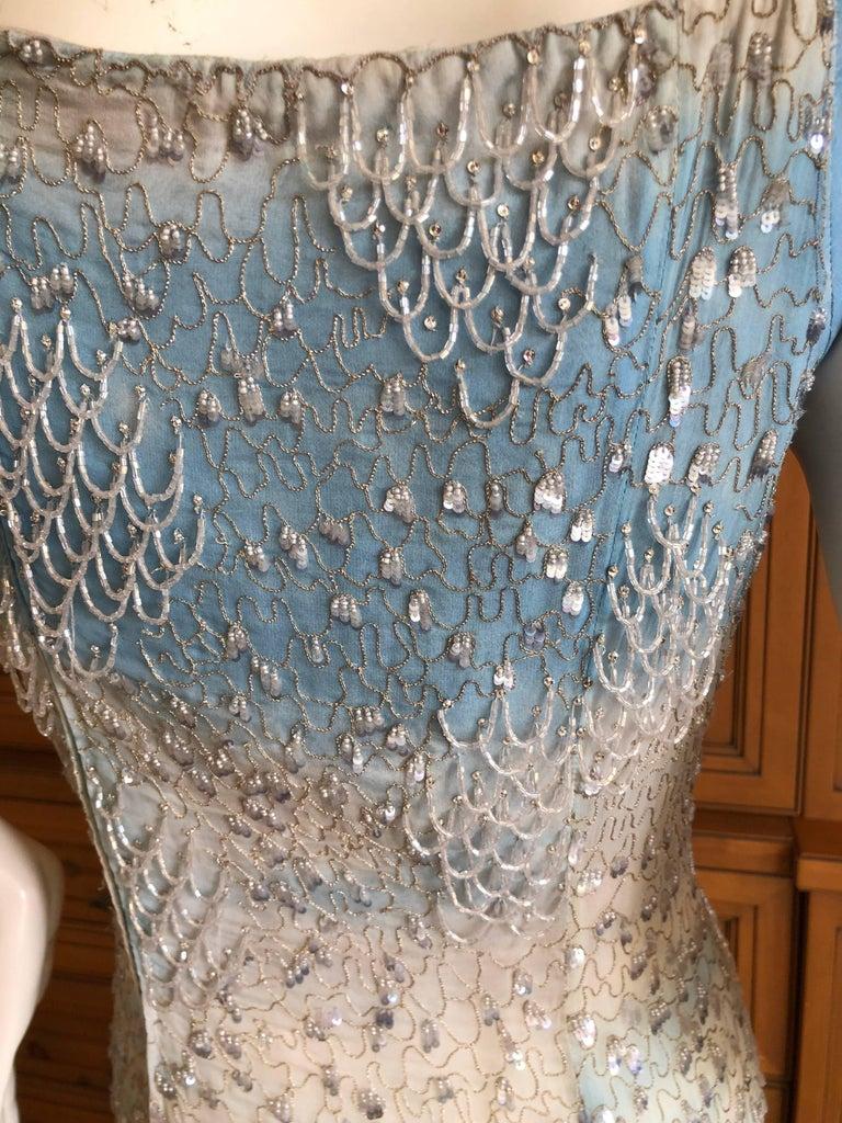 Oscar de la Renta Heavily Embellished Blue Ombre Vintage  Evening Dress  For Sale 2