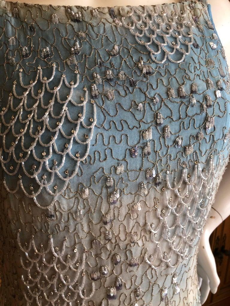 Oscar de la Renta Heavily Embellished Blue Ombre Vintage  Evening Dress  For Sale 5