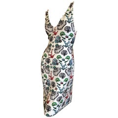 Emilio Pucci Pearl Trim Silk Seashell Print Day Dress