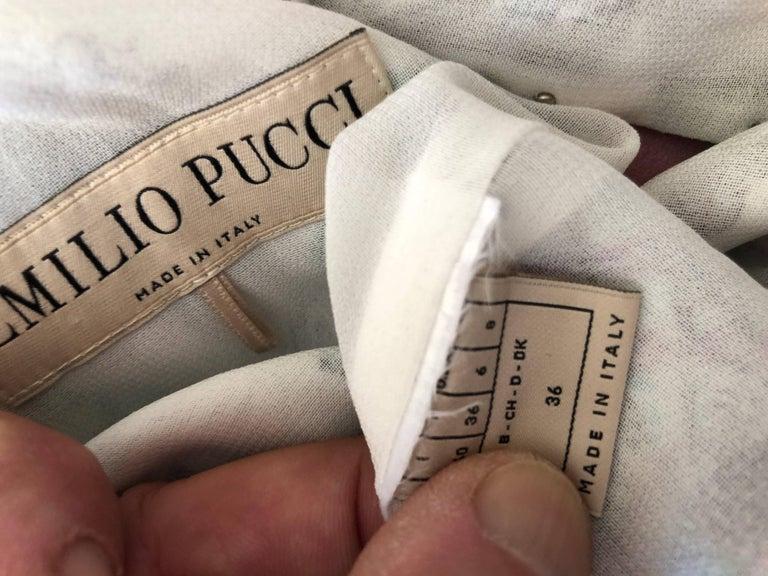 Emilio Pucci Pearl Trim Silk Seashell Print Day Dress For Sale 4