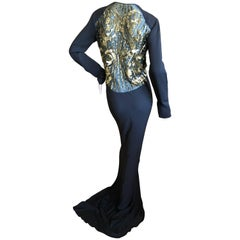 Roberto Cavalli Vintage Black Sheer Back Gold Sequin Embellished Evening Dress