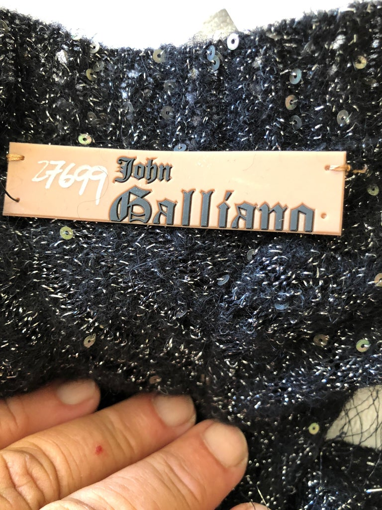 John Galliano Vintage Silver and Black Fringed Tinsel Cocktail Dress For Sale 5