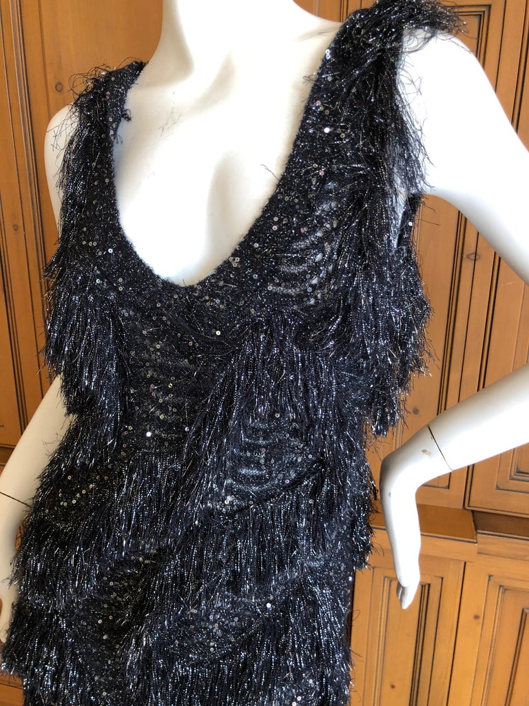 John Galliano Vintage Silver and Black Fringed Tinsel Cocktail Dress In Excellent Condition For Sale In San Francisco, CA