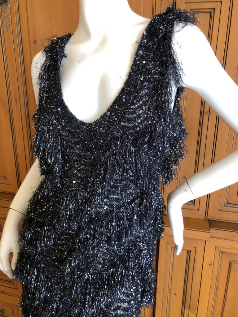 Women's John Galliano Vintage Silver and Black Fringed Tinsel Cocktail Dress For Sale
