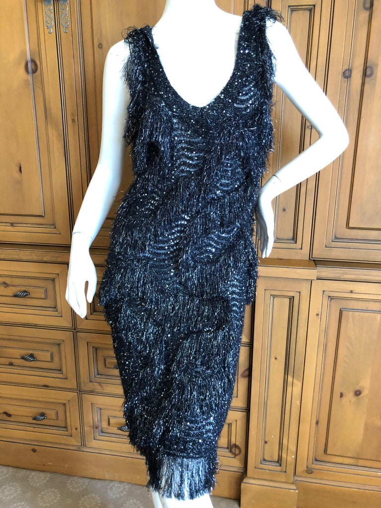 John Galliano Vintage Silver and Black Fringed Tinsel Cocktail Dress For Sale 1