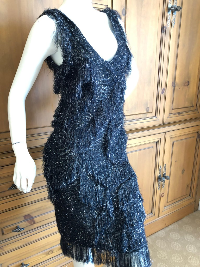 John Galliano Vintage Silver and Black Fringed Tinsel Cocktail Dress For Sale 4
