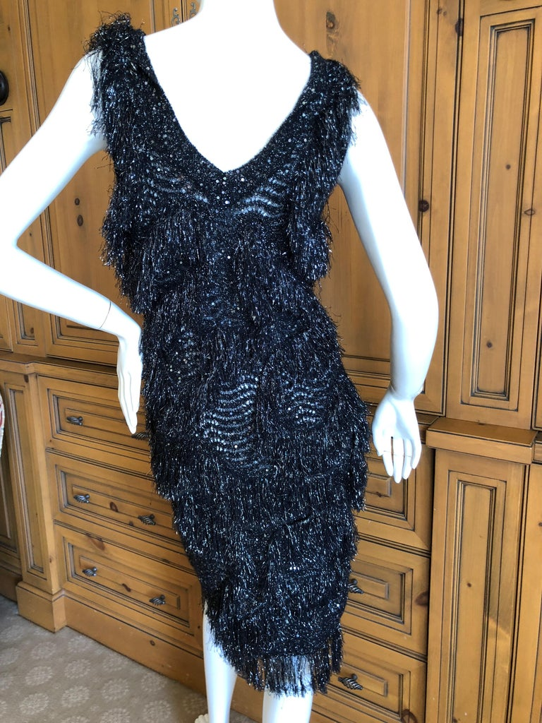 John Galliano Vintage Silver and Black Fringed Tinsel Cocktail Dress For Sale 2