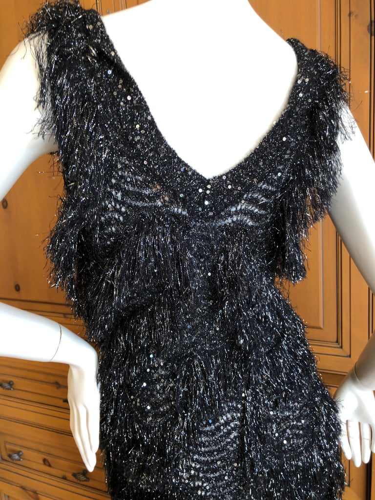 John Galliano Vintage Silver and Black Fringed Tinsel Cocktail Dress For Sale 3