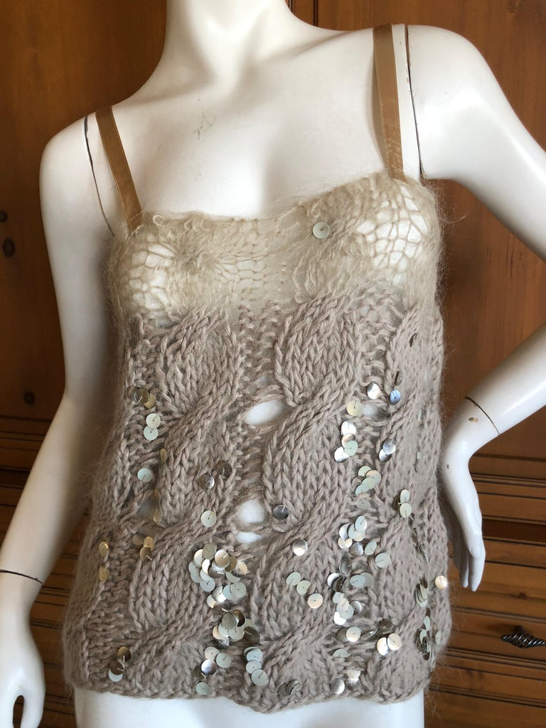 Josephus Thimester Loose Knit Cable Knit Camisole with Sequins Size S Bust 36