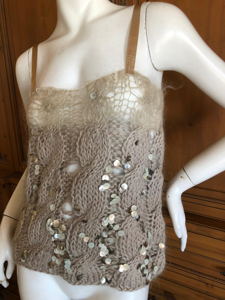Brown Josephus Thimester Loose Knit Cable Knit Camisole with Sequins For Sale