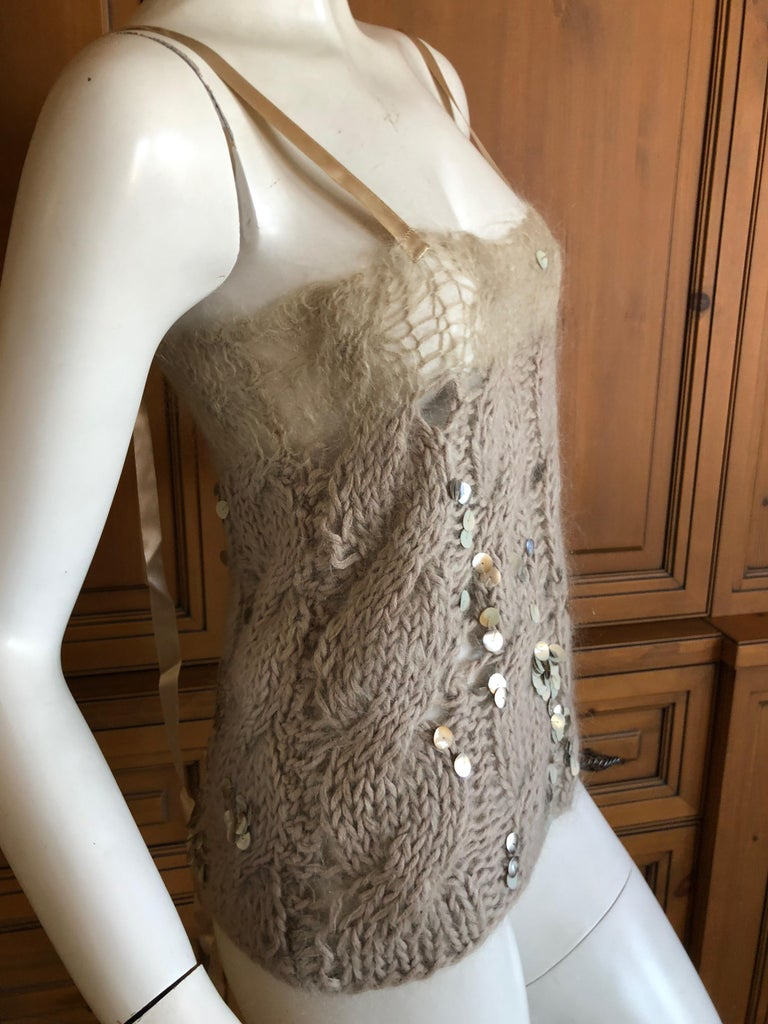 Josephus Thimester Loose Knit Cable Knit Camisole with Sequins In Excellent Condition For Sale In San Francisco, CA