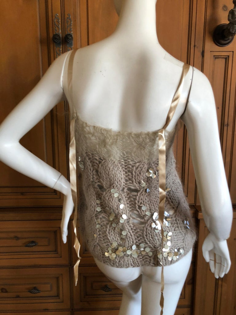 Women's Josephus Thimester Loose Knit Cable Knit Camisole with Sequins For Sale