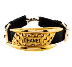 Chanel Wide Quilted Gold Motorcycle Belt Vogue Supermodel Photo Shoot, 1991