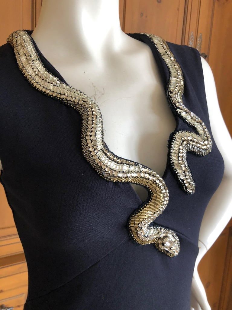 Roberto Cavalli Vintage Black Bodycon Dress w Crystal Embellished Snake Collar For Sale 3