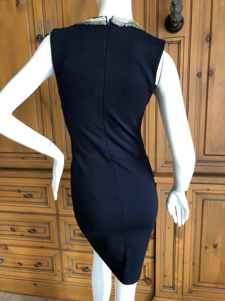 Roberto Cavalli Vintage Black Bodycon Dress w Crystal Embellished Snake Collar For Sale 4