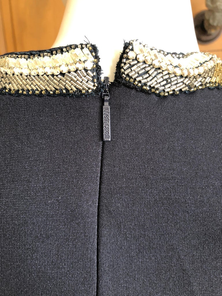 Roberto Cavalli Vintage Black Bodycon Dress w Crystal Embellished Snake Collar For Sale 5