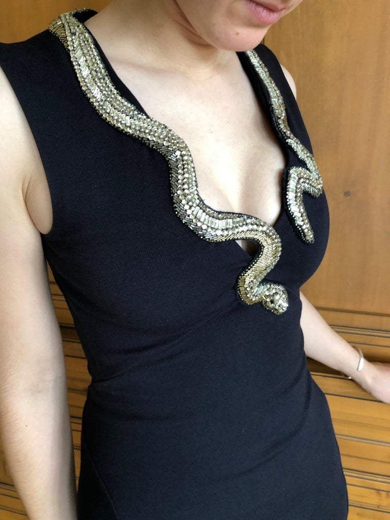 Roberto Cavalli Vintage Black Bodycon Dress w Crystal Embellished Snake Collar For Sale 6
